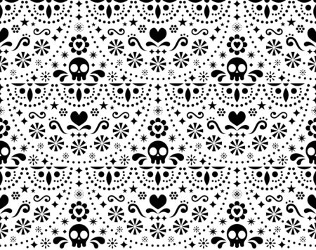 Mexican folk art vector seamless pattern with skulls, Halloween decor, flowers and abstract shapes, black and white textile design Illustration