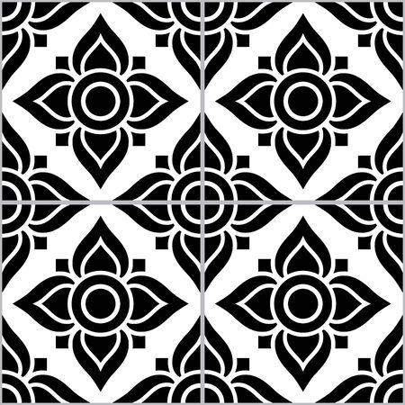 Azujelo Lisbon tile vector pattern - Lisbon tiles seamless design with flowers , tile decor in black and white - Portuguese retro tile ornament, repetitve mosaic