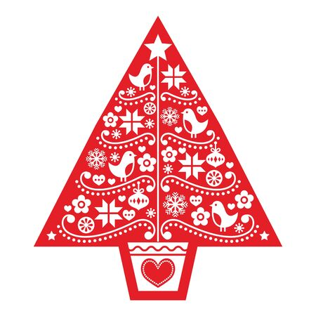 Christmas tree folk art vector design - Scandinavian pattern with birds, flowers and snowflakes