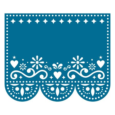 Papel Picado vector template design with no text, Mexican paper decoration with flowers and geometric shapes - greeting card or invitation
