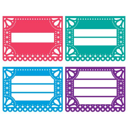 Papel Picado vector design templates set - Mexican paper decoration with empty space for text