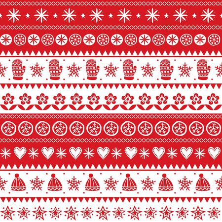 Christmas Scandinavian folk art vector seamless pattern, winter red and white ornament hand drawn style  イラスト・ベクター素材