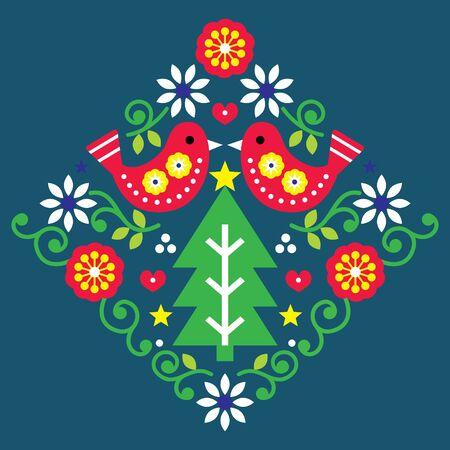 Christmas folk art vector pattern with birds and flowers in red and green, festive Scandinavian greeting card