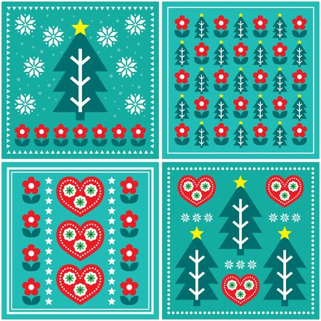 Christmas folk art vector pattern set, design collection with Christmas tree, flowers, hearts in red and  turquoise green - Scandinavian greeting card