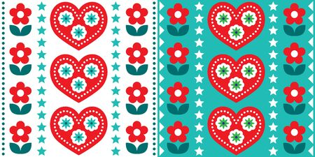 Scandinavian Christmas folk art vector seamless pattern, cute festive Nordic design in red and turquoise green  イラスト・ベクター素材