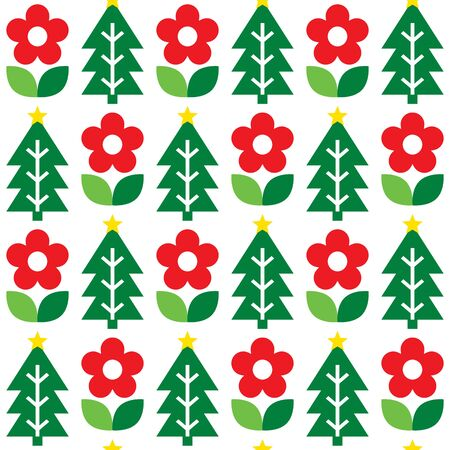 Cute repetitive Nordic Christmas folk art vector seamless pattern, cute festive Scandinavian design with flowers and Christmas trees