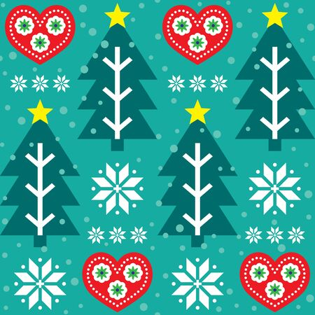 Christmas vector seamless pattern - Scandinavian folk art style, repetitive design with Christmas tree, hearts and snowflakes in red and  turquoise green
