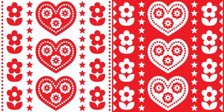 Scandinavian Christmas folk art vector seamless pattern, cute festive Nordic design in red and white