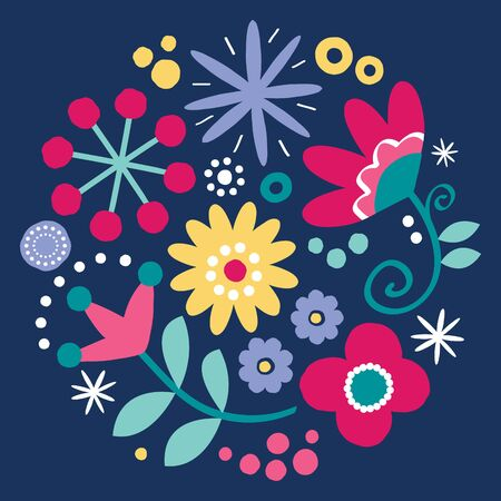 Floral folk art vector design, happy green and pink pattern with flowers and ladybird - Scandinavian greeting card or invitation, hand drawn style on dark background Banco de Imagens - 131706554