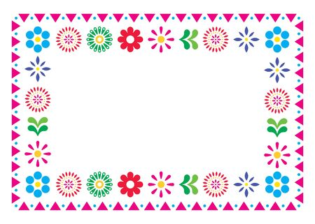 Mexican vector greeting card or wedding invitation, decorative design with flowers and abstract shapes inspired by traditional art from Mexico