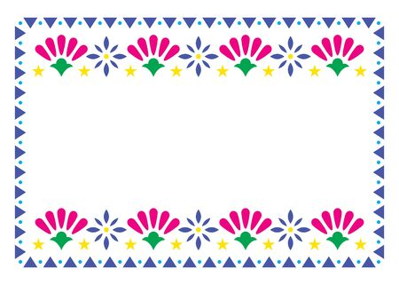 Mexican vector frame design with flowers perfect for greeting card or wedding, birthday party invitation