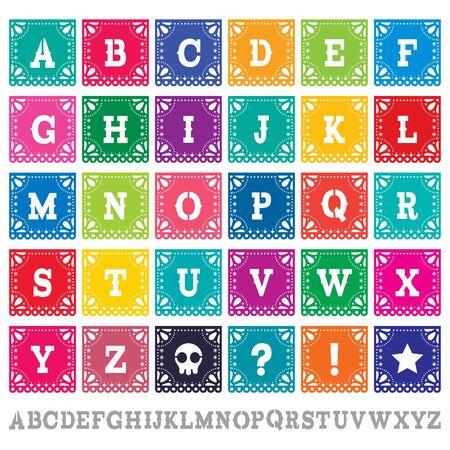 Papel Picado alfabeto conjunto de vectores de plantilla de letras - diseño de papel mexicano decoración perfecta para fiestas Ilustración de vector