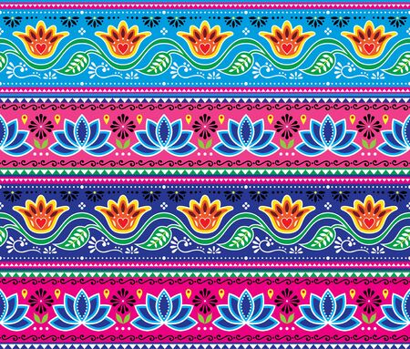 Pakistani or Indian truck art vector seamless pattern, floral cheerful design, Diwali repetitive decorations