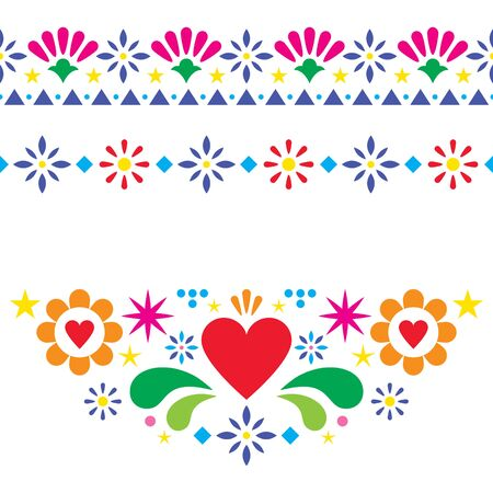 Mexican floral and abstract vector design elements, colorful traditional folk art patterns from Mexico, vibrant greeting card on wedding party invitation ornaments  イラスト・ベクター素材