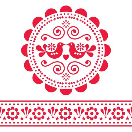 Scandinavian folk vector design pattern set - round and seamless design, cute floral ornament with birds in red on white background Illusztráció