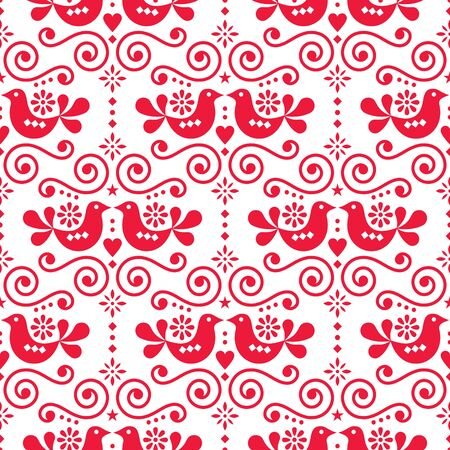 Scandinavian folk seamless vector pattern, repetitive floral cute Nordic design with birds in red on white background