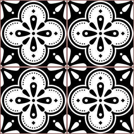 Azulejo vector tiles seamless black and white pattern inspired by Portuguese art, Lisbon style tile background