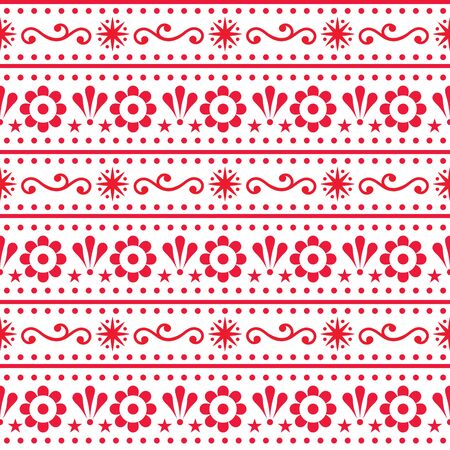 Scandinavian style folk art seamless vector pattern, repetitive floral cute Nordic design in red on white background Illusztráció