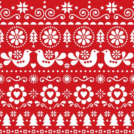 Christmas folk art vector seamless pattern, Scandinavian festive design with birds, snowflakes, flowers, Xmas trees in white on red background
