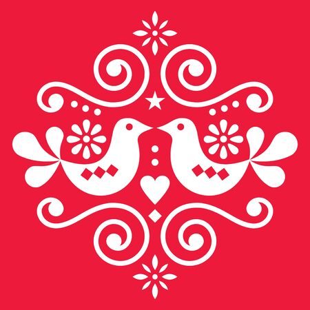 Scandinavian floral folk art vector design, cute Nordic pattern with birds in white on red background - for Valentines Day greeting card or wedding invitation