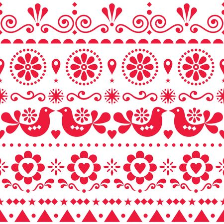 Seamless Scandinavian olk art vector pattern, cute repetitive design with birds and flowers