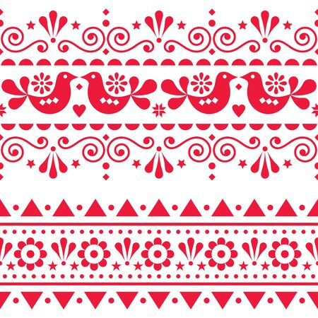 Scandinavian folk seamless vector long pattern, repetitive floral cute Nordic design with birds in red on white background