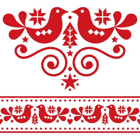 Scandinavian Christmas folk vector design elements, cute floral design with birds, pine trees and snowflakes on red on white background