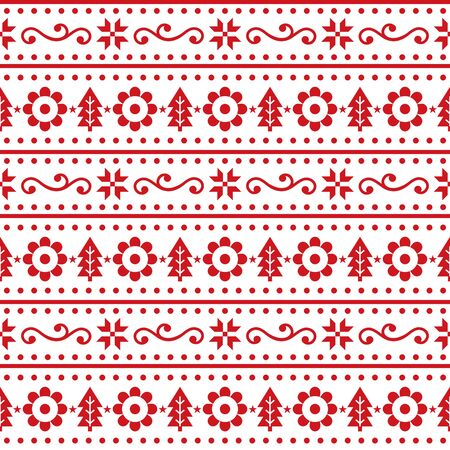 Christmas Scandinavain folk art vector seamless pattern, Nordic festive design with snowflakes, flowers, Xmas trees in red on white background