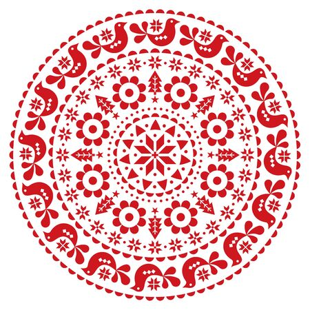 Christmas Scandinavian folk vector design mandala- winter round festive pattern, cute floral ornament with birds and snowflakes in red on white background