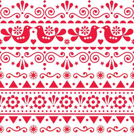 Scandinavian seamless vector pattern folk art style, repetitive cute Nordic design with birds in red on white background