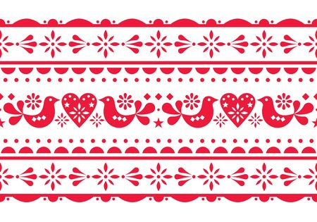 Scandinavian love, Valentines Day folk art seamless vector long pattern, floral cute Nordic design with birds, hearts and flowers Illusztráció