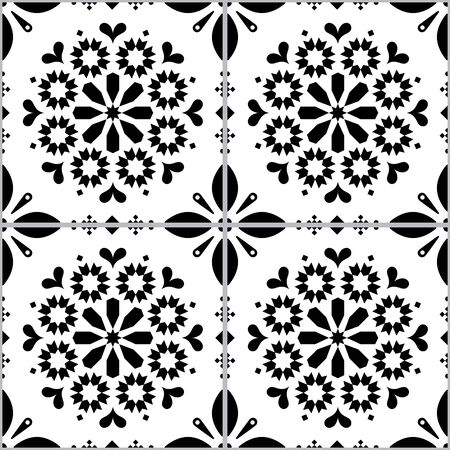 Azulejo vector tiles seamless pattern inspired by Portuguese art, Lisbon style black and white tile background