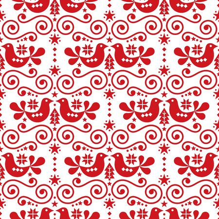 Scandinavian Christmas folk seamless vector pattern, repetitive floral cute Nordic design with birds in red on white background