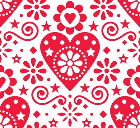 Valentines Day folk art vector seamless pattern - Scandinavian style design with hearts and flowers