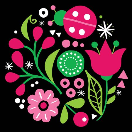 Floral folk art vector design, pattern with flowers and ladybird in green and pink - Scandinavian greeting card or invitation, hand drawn style