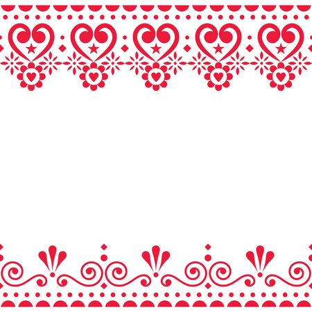 Valentines Day vector greeting card design or wedding inviatation - Scandinavian traditional embroidery folk art style with flowers Illusztráció