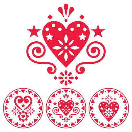 Valentines Day vector design elements set for greeting card or wedding invitation - Scandinavian style patterns with hearts and flowers Illusztráció