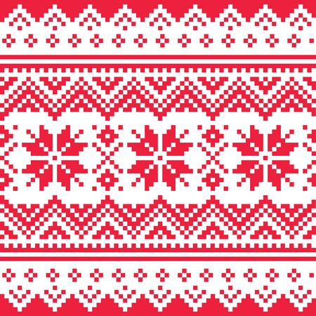 Christmas vector seamless winter pattern, inspired by Sami people, Lapland folk art design, traditional knitting and embroidery