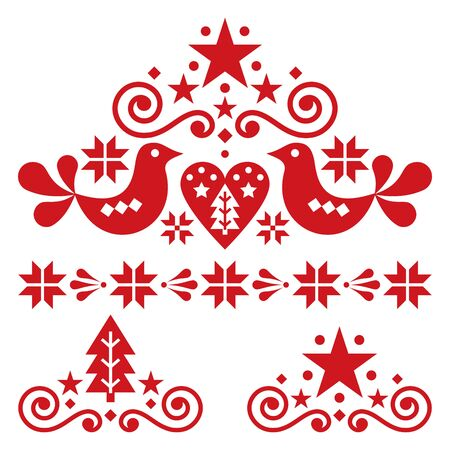 Xmas scandinavian folk art vector design set - Christmas single patterns collection, cute floral orn 일러스트