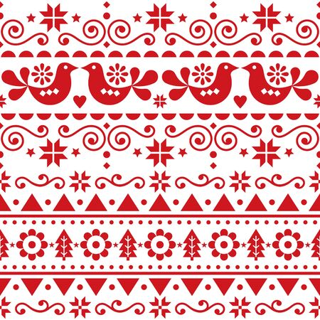 Scandinavian Christmas cute seamless vector pattern folk art style, repetitive winter retro Nordic design with birds, Christmas trees, snowflakes and flowers Illusztráció