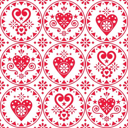 Valentines Day vector seamless pattern- Scandinavian style design with hearts and flowers