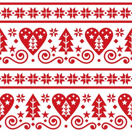 Scandinavian Christmas folk seamless vector pattern, repetitive floral cute Nordic design with Christmas trees, snowflakes and hearts in red on white background
