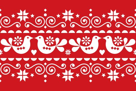 Christmas folk art vector seamless textile pattern, Scandinavian, Nordic festive pattern with birds, Christmas trees, snowflakes and hearts