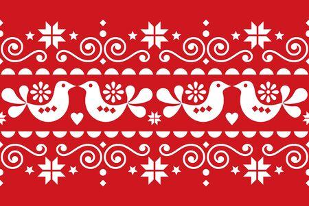 Weihnachtsvolkskunstvektor nahtloses Textilmuster, skandinavisches, nordisches festliches Muster mit Vögeln, Weihnachtsbäumen, Schneeflocken und Herzen