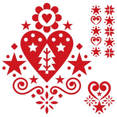 Christmas Scandinavian folk art vector design set - single patterns collection with hearts, flowers, snowflakes and Christmas trees