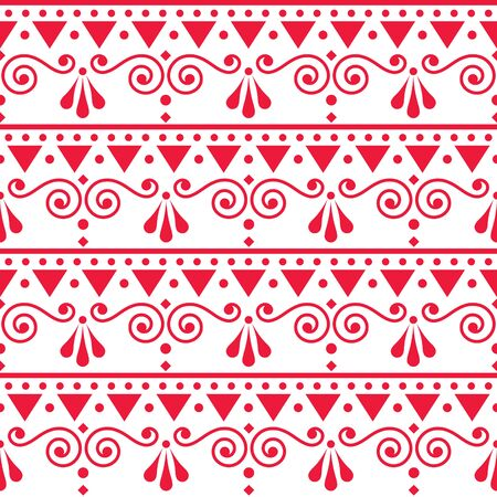 Scandinavian style folk art seamless vector pattern with swirl, flowers and geometric shapes 向量圖像