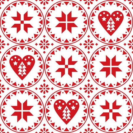Scandinavian Christmas seamless vector pattern with snowflakes, hearts and Christmas trees - Nordic folk art style