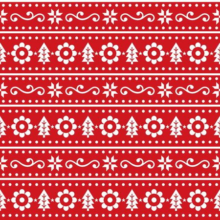 Scandinavian Christmas folk seamless vector pattern, repetitive winter cute Nordic design with Christmas trees, snowflakes and flowers Illusztráció