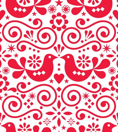 Scandinavian floral folk art vector seamless design, cute Nordic pattern with birds in red on white background