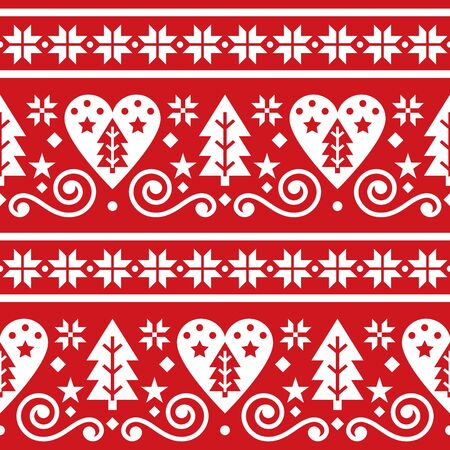 Scandinavian Christmas folk seamless vector pattern, repetitive floral cute Nordic design with Christmas trees, snowflakes and hearts in white on red background Illusztráció